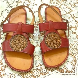 Leather medallion t strap red flat sandals